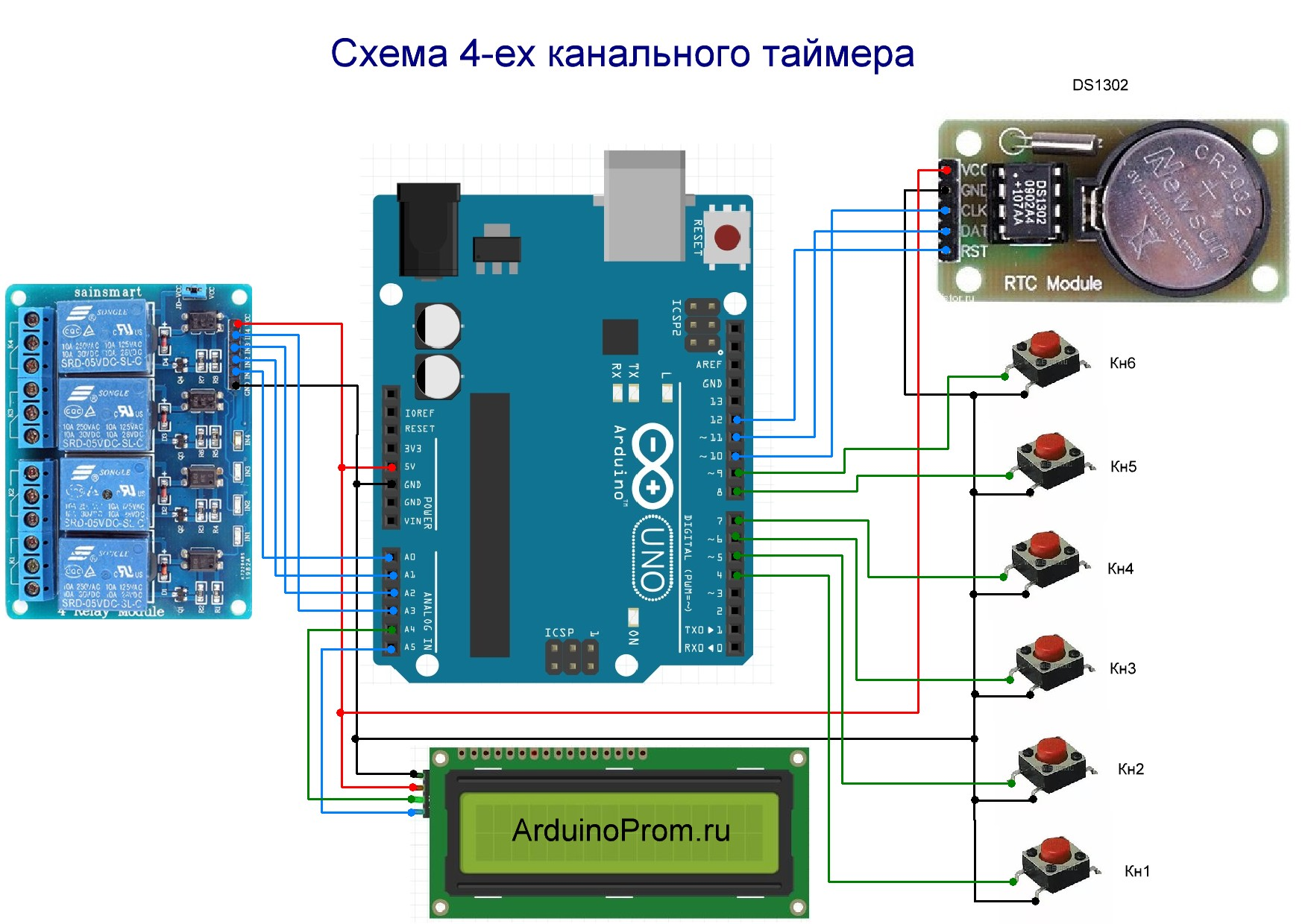 Arduino timer using RTC and Relays Arduino, Android