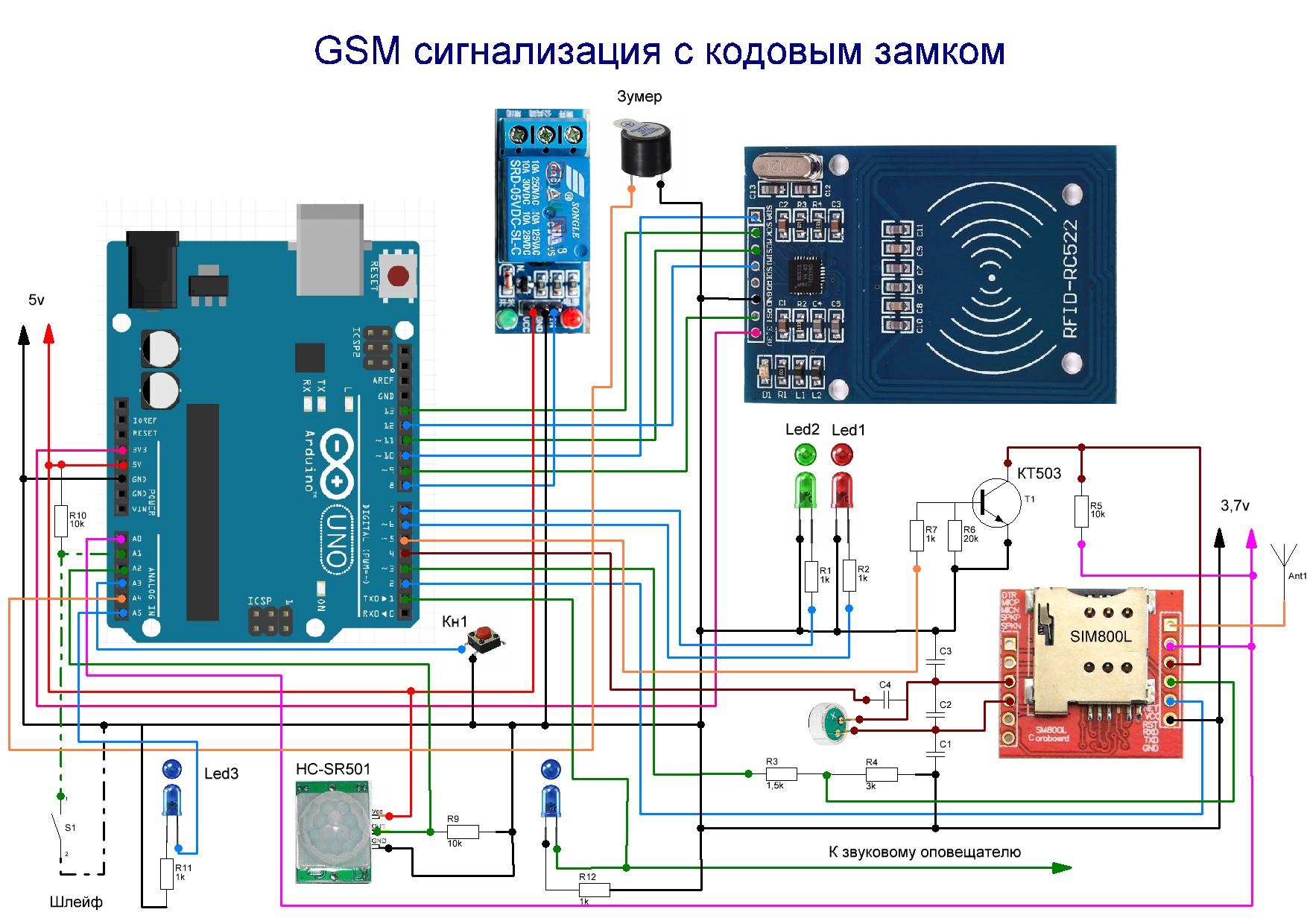 Gsm сигнализация своими руками arduino
